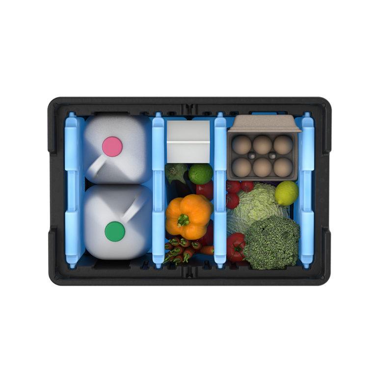 Liviri Sprint50 packed with milk, produce, and eggs
