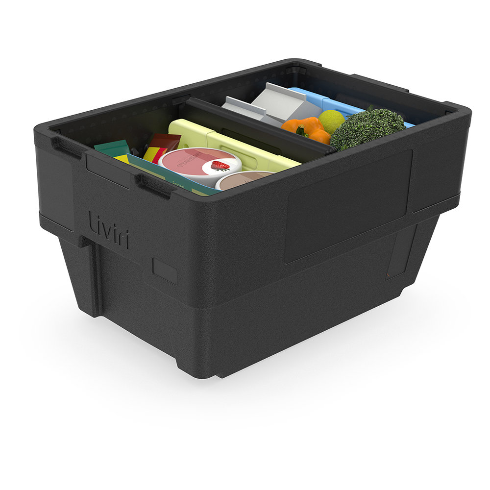 Liviri Sprint28 packed with milk, produce, and frozen items