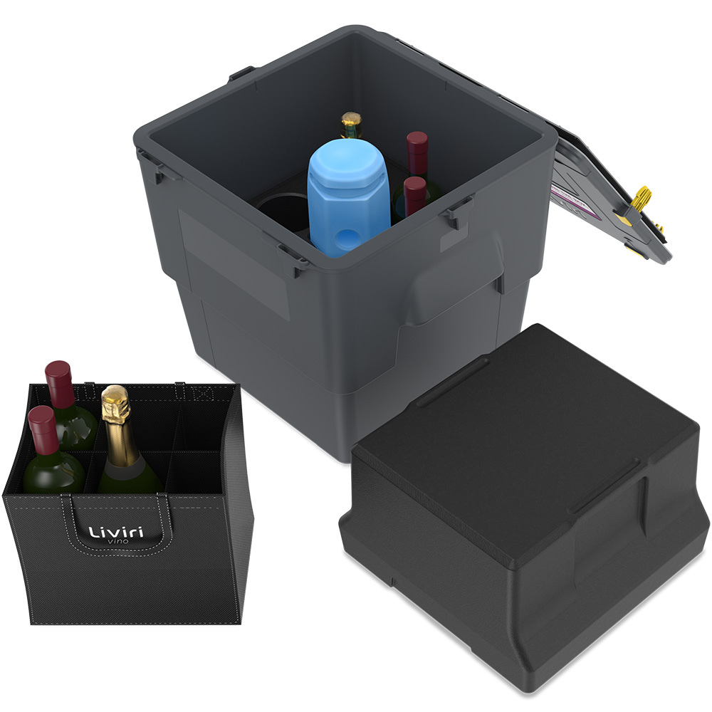 Vino6, unpacked with accessories and wine bottles