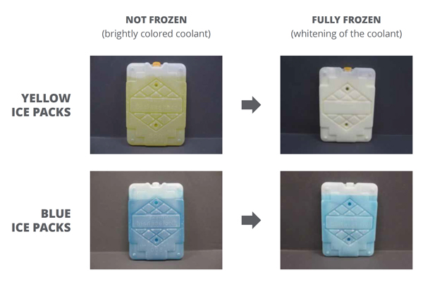 Yellow and blue ice packs in fully frozen vs not frozen state